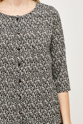 Mono Printed Button Up Blouse