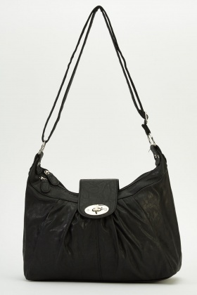 Ruched Faux Leather Shoulder Bag
