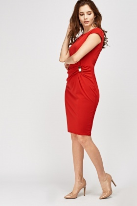 Brooch Side Ruched Dress