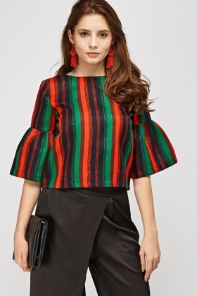Flared Sleeve Striped Box Top