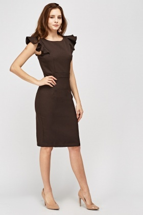 Frilled Sleeve Pencil Dress