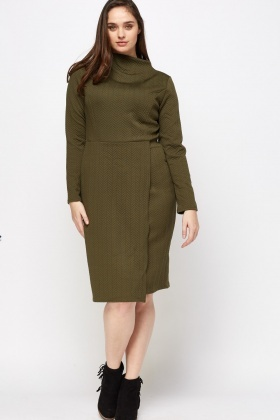 High Neck Embossed Midi Dress