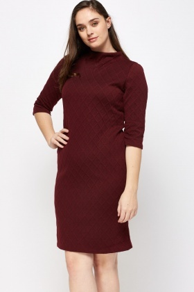 Textured High Neck Shift Dress