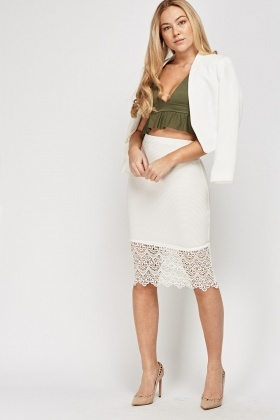 Crochet Hem Textured Pencil Skirt