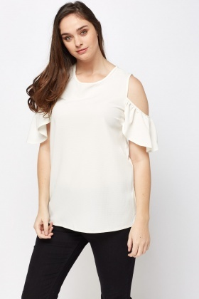 Flared Sleeve Cold Shoulder Top