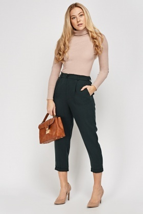 Tailored Dark Green Casual Trousers