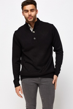 Button Up High Neck Pullover