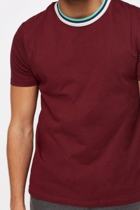 Contrast Trim Round Neck T-Shirt