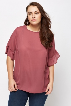 Flare Sleeve Sheer Mauve Top