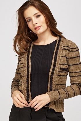 Metallic Insert Casual Cardigan