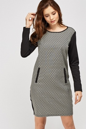 Printed Front Contrast Shift Dress