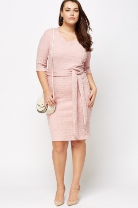 Wrap Tie Up Embossed Dress