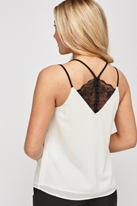 Lace Insert Back Sheer Cami Top