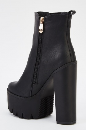Black Chunky Heeled Boots - Just $6