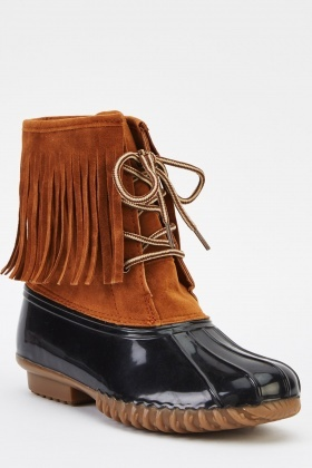 Contrast Fringed Lace Up Boots