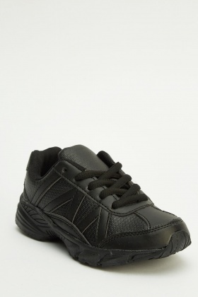 Faux Leather Lace Up Kids Trainers