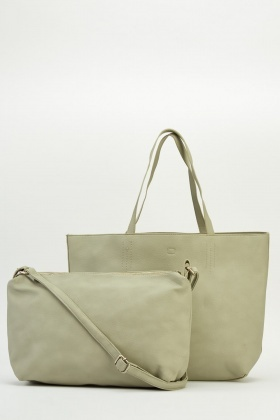 Grey Large Tote 2 In 1 Handbag