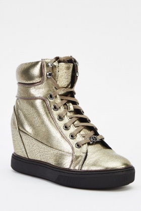 Metallic Wedged Trainers
