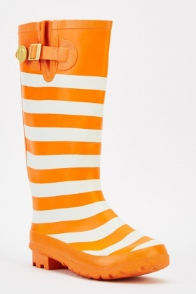 Orange Striped Knee High Welly Boots