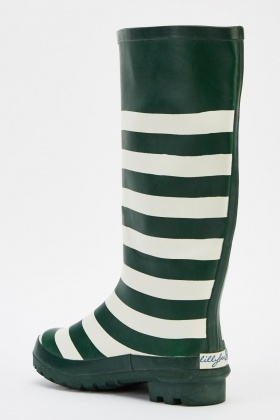 Striped Knee High Welly Boots