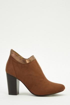 Suedette Faux Leather Trim Heeled Boots