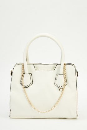 White Faux Leather Handbag