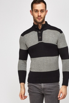 Button Neck Striped Jumper