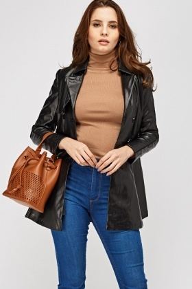 Double Breasted Faux Leather Jacket