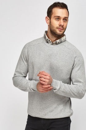 Light Grey Insert Collar Sweater