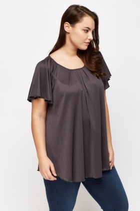 Pleated Front Dark Grey Top