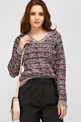 V-Neck Speckled Jumper