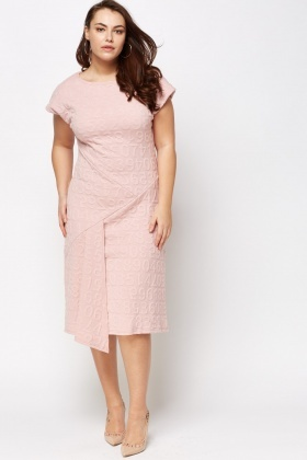 Wrapped Embossed Midi Dress