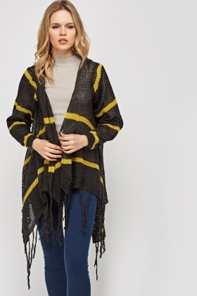 Asymmetric Fringed Knitted Cardigan