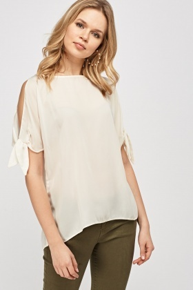 Detailed Cut Out Shoulder Sheer Top