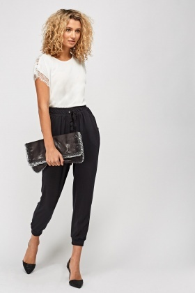 Black Casual Elastic Trousers