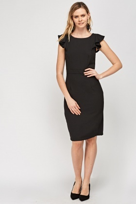 Flared Sleeve Black Dress