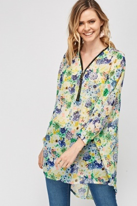 Floral Zip Neck Sheer Cover Up