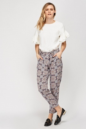 Mixed Floral Printed Trousers