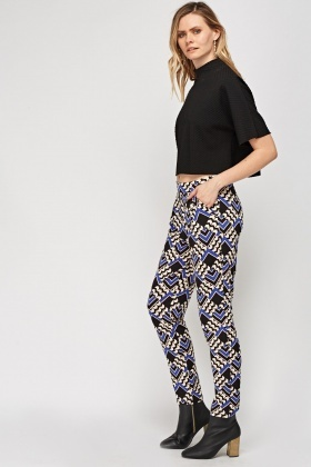 Mixed Print Light Weight Trousers