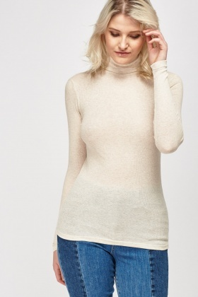 Basic Ribbed Turtle Neck Top