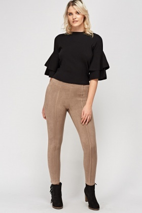 Suedette Ankle Cropped Leggings