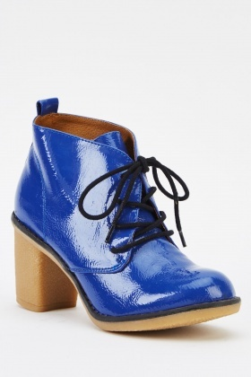 Blue PVC Block Heeled Boots