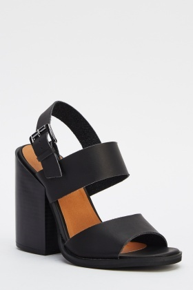 Cut Out Block Heel Shoes