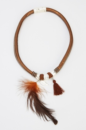 Embellished Feathered Necklace