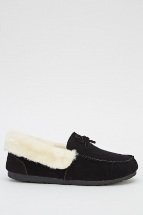 Faux Fur Trim Shoes