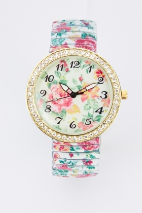 Floral Encrusted Round Watch