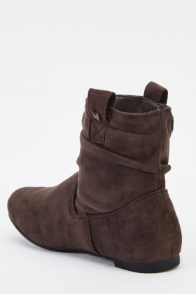 Grey Suedette Ruched Ankle Boots