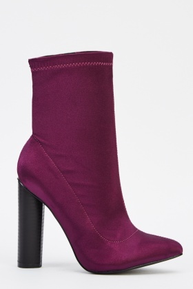 Purple Sateen Heeled Boots