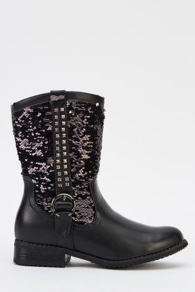 Sequin Contrast Boots