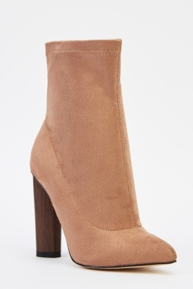 Suedette Court Heeled Boots